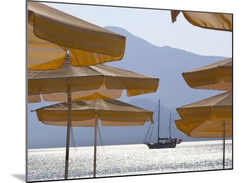 Umbrellas and Yacht, Psili Ammos, Samos, Aegean Islands, Greece-Stuart Black-Mounted Photographic Print