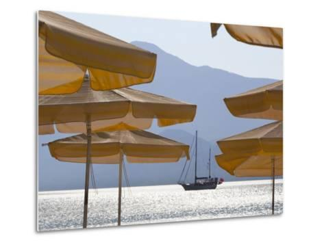 Umbrellas and Yacht, Psili Ammos, Samos, Aegean Islands, Greece-Stuart Black-Metal Print