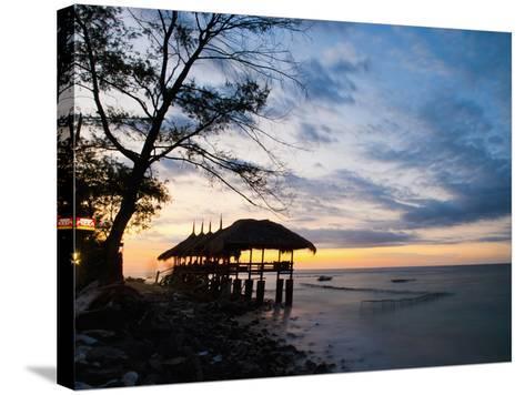Restaurant on the Beach at Sunset, Gili Trawangan, Gili Islands, Indonesia, Southeast Asia, Asia-Matthew Williams-Ellis-Stretched Canvas Print