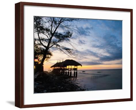 Restaurant on the Beach at Sunset, Gili Trawangan, Gili Islands, Indonesia, Southeast Asia, Asia-Matthew Williams-Ellis-Framed Art Print
