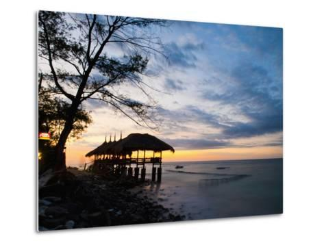 Restaurant on the Beach at Sunset, Gili Trawangan, Gili Islands, Indonesia, Southeast Asia, Asia-Matthew Williams-Ellis-Metal Print
