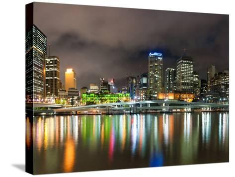 Central Business District City Skyline at Night Taken from Southbank of Brisbane, Australia-Matthew Williams-Ellis-Stretched Canvas Print