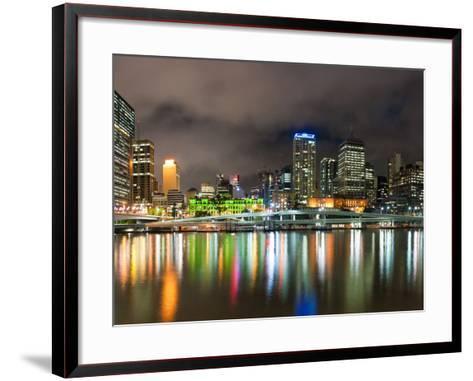Central Business District City Skyline at Night Taken from Southbank of Brisbane, Australia-Matthew Williams-Ellis-Framed Art Print