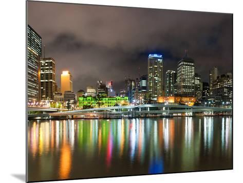 Central Business District City Skyline at Night Taken from Southbank of Brisbane, Australia-Matthew Williams-Ellis-Mounted Photographic Print