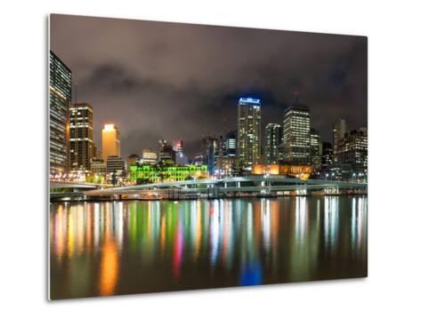 Central Business District City Skyline at Night Taken from Southbank of Brisbane, Australia-Matthew Williams-Ellis-Metal Print