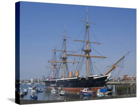 HMS Warrior, 1st Armour-Plated Iron-Hulled Warship, Built for Royal Navy 1860, Portsmouth, England-Ethel Davies-Stretched Canvas Print