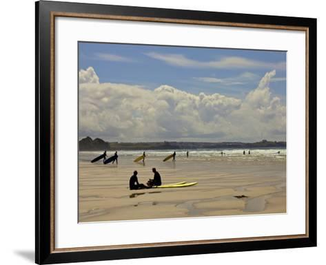 Surfers with Boards on Perranporth Beach, Cornwall, England-Simon Montgomery-Framed Art Print