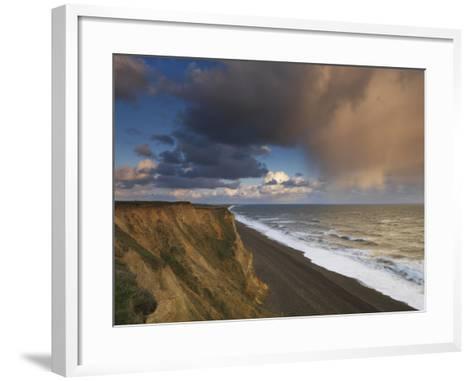 A Rain Cloud Approaches the Cliffs at Weybourne, Norfolk, England-Jon Gibbs-Framed Art Print