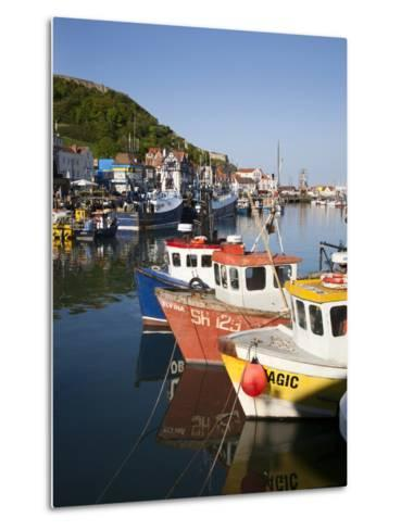 Fishing Boats in the Harbour, Scarborough, North Yorkshire, Yorkshire, England, UK, Europe-Mark Sunderland-Metal Print