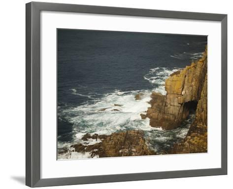 Sea Arch and Stacked Rocks at Land's End, Cornwall, England, United Kingdom, Europe-Ian Egner-Framed Art Print