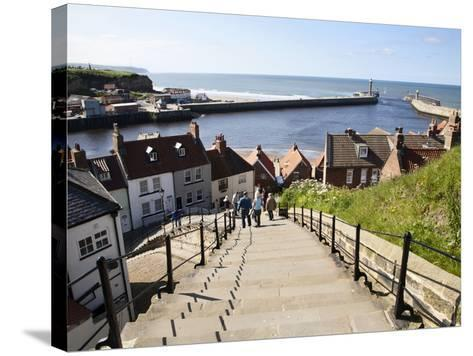 The 199 Steps in Whitby, North Yorkshire, England, United Kingdom, Europe-Mark Sunderland-Stretched Canvas Print