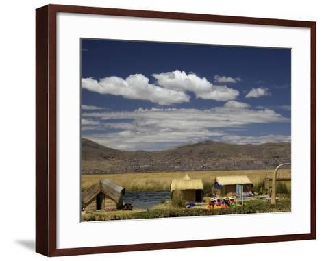 Floating Islands of Uros People, Traditional Reed Boats and Reed Houses, Lake Titicaca, Peru-Simon Montgomery-Framed Art Print