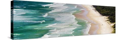 Panoramic Photo of Surfers Heading Out to Surf on Tallow Beach at Cape Byron Bay, Australia-Matthew Williams-Ellis-Stretched Canvas Print
