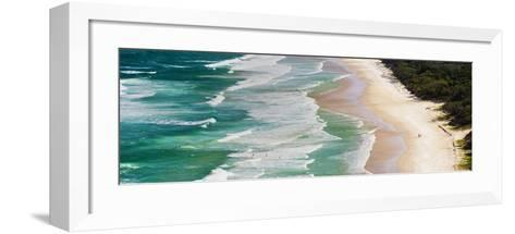 Panoramic Photo of Surfers Heading Out to Surf on Tallow Beach at Cape Byron Bay, Australia-Matthew Williams-Ellis-Framed Art Print