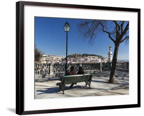 View over City from Miradouro de Sao Pedro de Alcantara, Bairro Alto, Lisbon, Portugal, Europe-Stuart Black-Framed Art Print