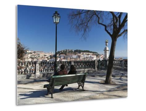 View over City from Miradouro de Sao Pedro de Alcantara, Bairro Alto, Lisbon, Portugal, Europe-Stuart Black-Metal Print