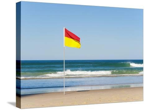 Swimming Flag for Satefy at Surfers Paradise Beach, Gold Coast, Queensland, Australia, Pacific-Matthew Williams-Ellis-Stretched Canvas Print