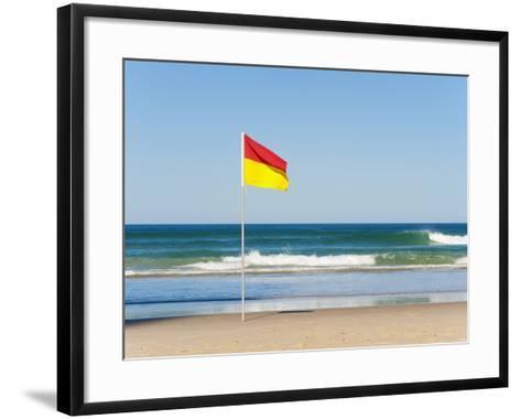 Swimming Flag for Satefy at Surfers Paradise Beach, Gold Coast, Queensland, Australia, Pacific-Matthew Williams-Ellis-Framed Art Print