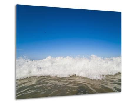 Bright Blue Sky and Waves Breaking at Surfers Paradise Beach, Gold Coast, Queensland, Australia-Matthew Williams-Ellis-Metal Print