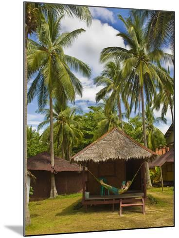 Tourist Relaxing in a Hammock on a Bamboo Beach Hut on the Thai Island of Koh Lanta, South Thailand-Matthew Williams-Ellis-Mounted Photographic Print