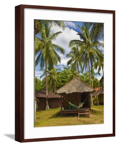 Tourist Relaxing in a Hammock on a Bamboo Beach Hut on the Thai Island of Koh Lanta, South Thailand-Matthew Williams-Ellis-Framed Art Print