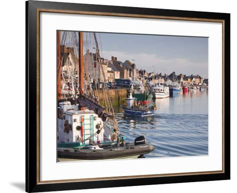 The Fleur de Lampaul and Small Boat in Harbour at Saint Vaast La Hougue, Cotentin Peninsula, France-Julian Elliott-Framed Art Print
