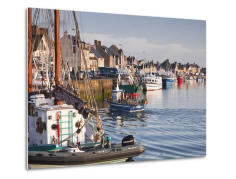The Fleur de Lampaul and Small Boat in Harbour at Saint Vaast La Hougue, Cotentin Peninsula, France-Julian Elliott-Metal Print