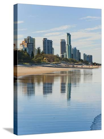 Reflections of High Rise Buildings at Surfers Paradise Beach, Gold Coast, Queensland, Australia-Matthew Williams-Ellis-Stretched Canvas Print