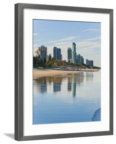 Reflections of High Rise Buildings at Surfers Paradise Beach, Gold Coast, Queensland, Australia-Matthew Williams-Ellis-Framed Art Print