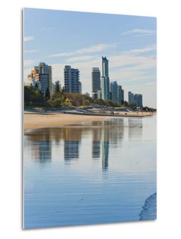 Reflections of High Rise Buildings at Surfers Paradise Beach, Gold Coast, Queensland, Australia-Matthew Williams-Ellis-Metal Print