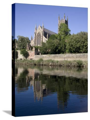Cathedral West Side and River Severn, Worcester, Worcestershire, England, United Kingdom, Europe-Julian Pottage-Stretched Canvas Print
