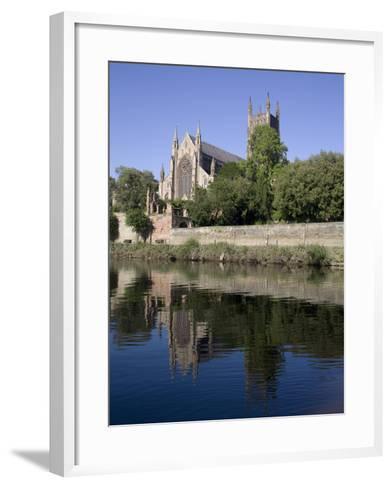 Cathedral West Side and River Severn, Worcester, Worcestershire, England, United Kingdom, Europe-Julian Pottage-Framed Art Print