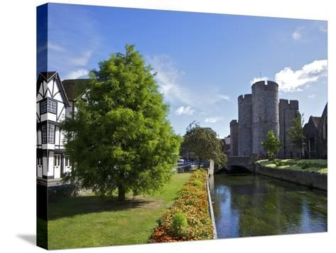 Westgate Medieval Gatehouse and Gardens, with Bridge over River Stour, Canterbury, Kent, England-Peter Barritt-Stretched Canvas Print