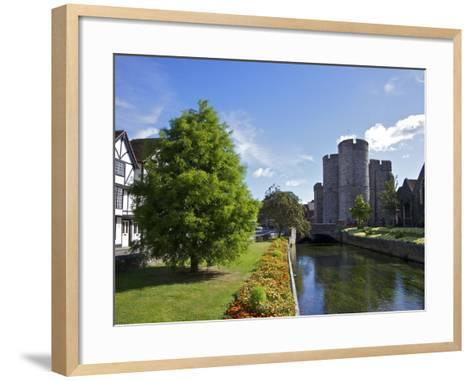 Westgate Medieval Gatehouse and Gardens, with Bridge over River Stour, Canterbury, Kent, England-Peter Barritt-Framed Art Print