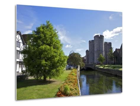 Westgate Medieval Gatehouse and Gardens, with Bridge over River Stour, Canterbury, Kent, England-Peter Barritt-Metal Print