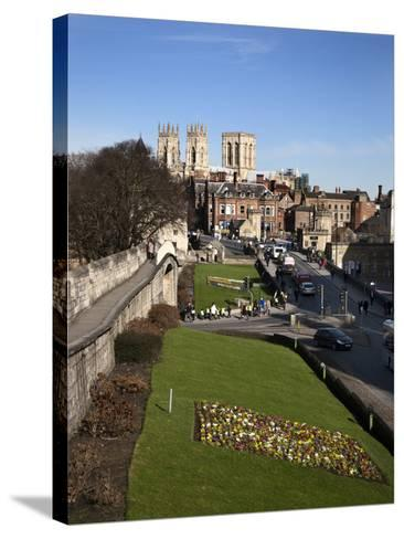 York Minster from the City Walls, York, Yorkshire, England-Mark Sunderland-Stretched Canvas Print