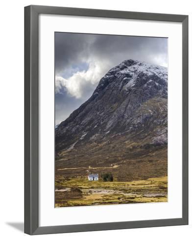 Single Small Cottage and Buachaille Etive Mor, Rannoch Moor, Glencoe, Highland Region, Scotland-Chris Hepburn-Framed Art Print