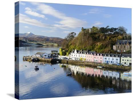 Looking Down at the Harbour of Portree, Isle of Skye, Inner Hebrides, Scotland-Chris Hepburn-Stretched Canvas Print