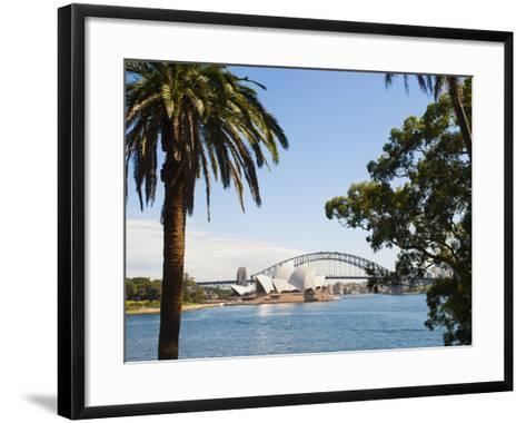 Sydney Opera House, UNESCO World Heritage Site, and Sydney Harbour Bridge, Sydney, Australia-Matthew Williams-Ellis-Framed Art Print
