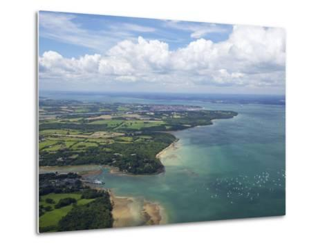 Aerial View of Yachts Racing in Cowes Week on the Solent, Isle of Wight, England, UK, Europe-Peter Barritt-Metal Print