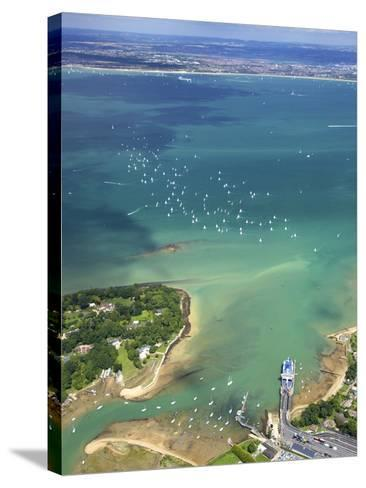 Aerial View of Yachts Racing in Cowes Week on the Solent, Isle of Wight, England, UK, Europe-Peter Barritt-Stretched Canvas Print