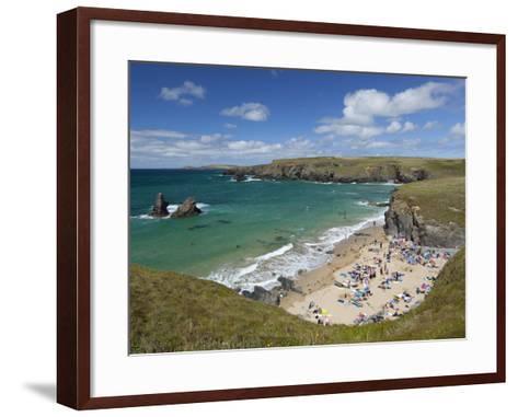 North Cornwall Coast Beach, Porthcothan, Near Newquay, Cornwall, England-Stuart Black-Framed Art Print
