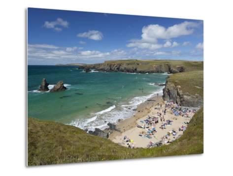 North Cornwall Coast Beach, Porthcothan, Near Newquay, Cornwall, England-Stuart Black-Metal Print