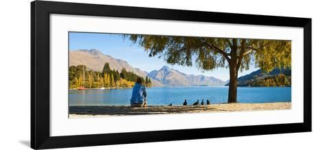 Panorama of Tourist Relaxing by Lake Wakatipu in Autumn at Queenstown, Otago, New Zealand-Matthew Williams-Ellis-Framed Art Print