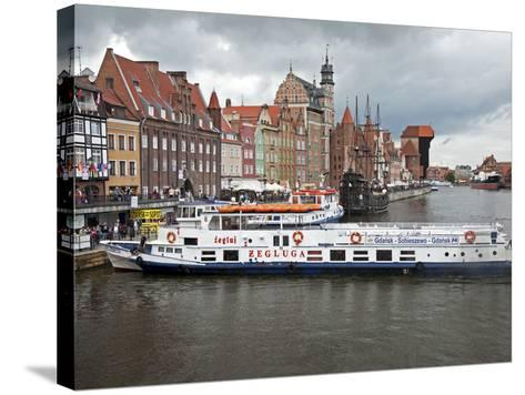 View Along River Motlawa Showing Harbour and Old Hanseatic Architecture, Gdansk, Pomerania, Poland-Adina Tovy-Stretched Canvas Print
