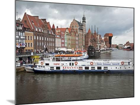 View Along River Motlawa Showing Harbour and Old Hanseatic Architecture, Gdansk, Pomerania, Poland-Adina Tovy-Mounted Photographic Print