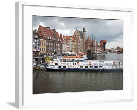 View Along River Motlawa Showing Harbour and Old Hanseatic Architecture, Gdansk, Pomerania, Poland-Adina Tovy-Framed Art Print