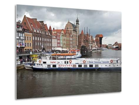 View Along River Motlawa Showing Harbour and Old Hanseatic Architecture, Gdansk, Pomerania, Poland-Adina Tovy-Metal Print