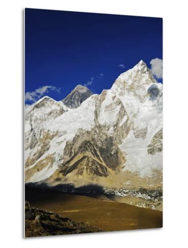 Mount Everest and Nuptse from Kala Patthar, Sagarmatha Natl Park, UNESCO World Heritage Site, Nepal-Jochen Schlenker-Metal Print