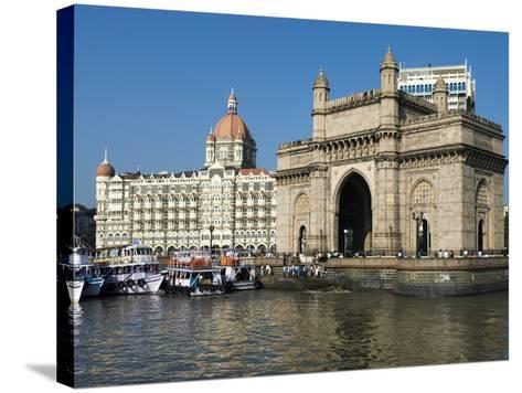 Waterfront with Taj Mahal Palace and Tower Hotel and Gateway of India, Mumbai (Bombay), India-Stuart Black-Stretched Canvas Print